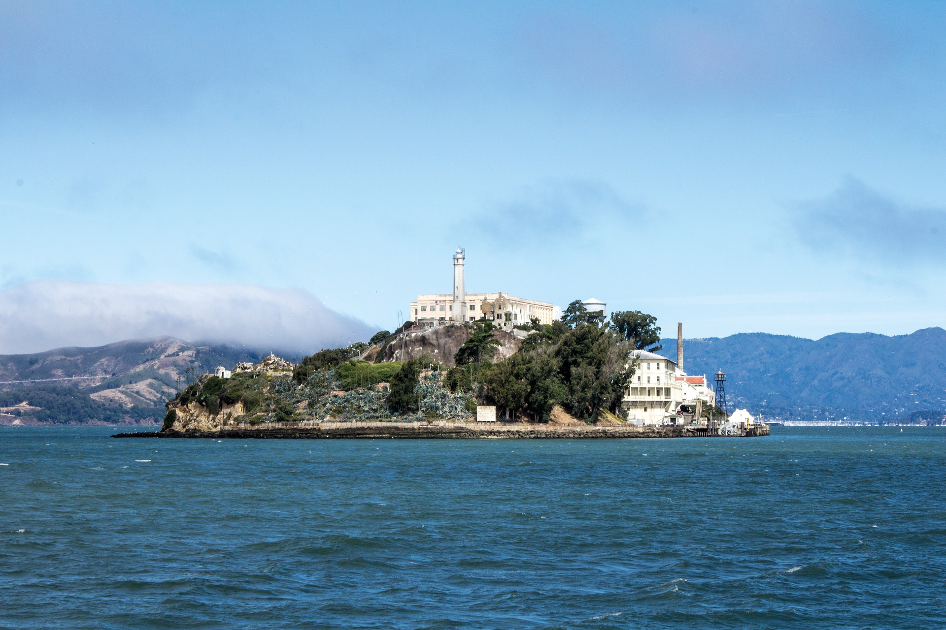 The island of Alcatraz from San Fransisco waters.